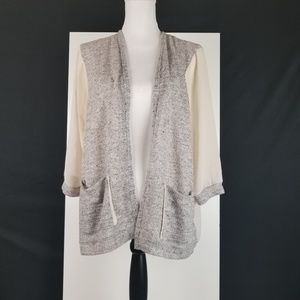Silence + Noise Knit Sheer Open Front Cardigan Med